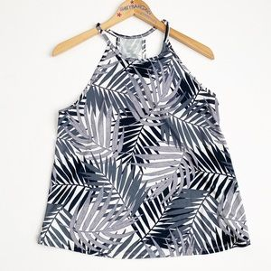 Old Navy Active Gray/Black Leaf Print Tank M
